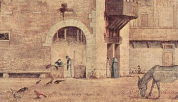 Цикл картин капеллы Скуола ди Сан Джорджио Скьявони, погребение св. Иеронима. Деталь