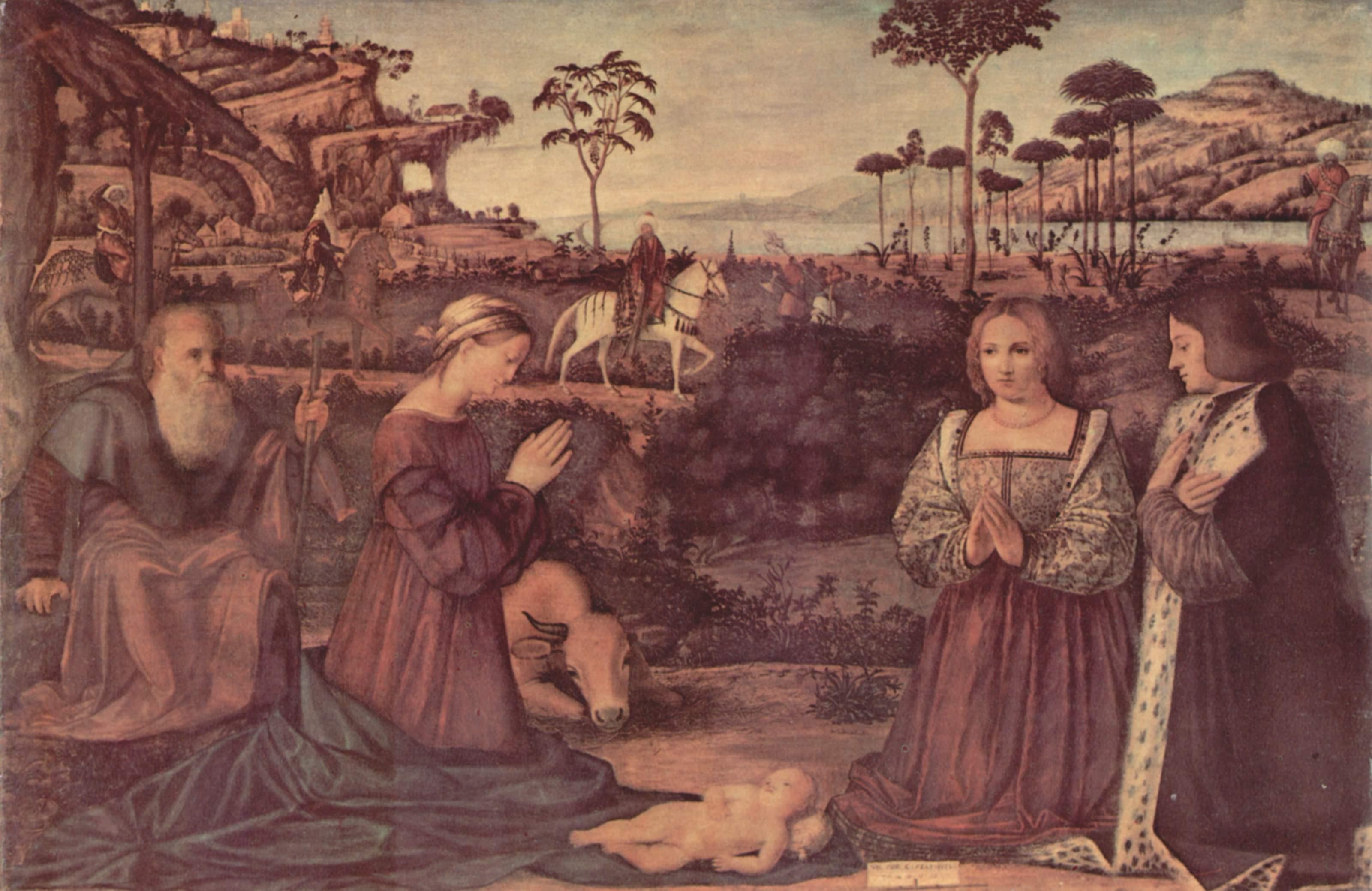 Святое семейство и два донатора, поклоняющиеся младенцу Христу, Витторе Карпаччо