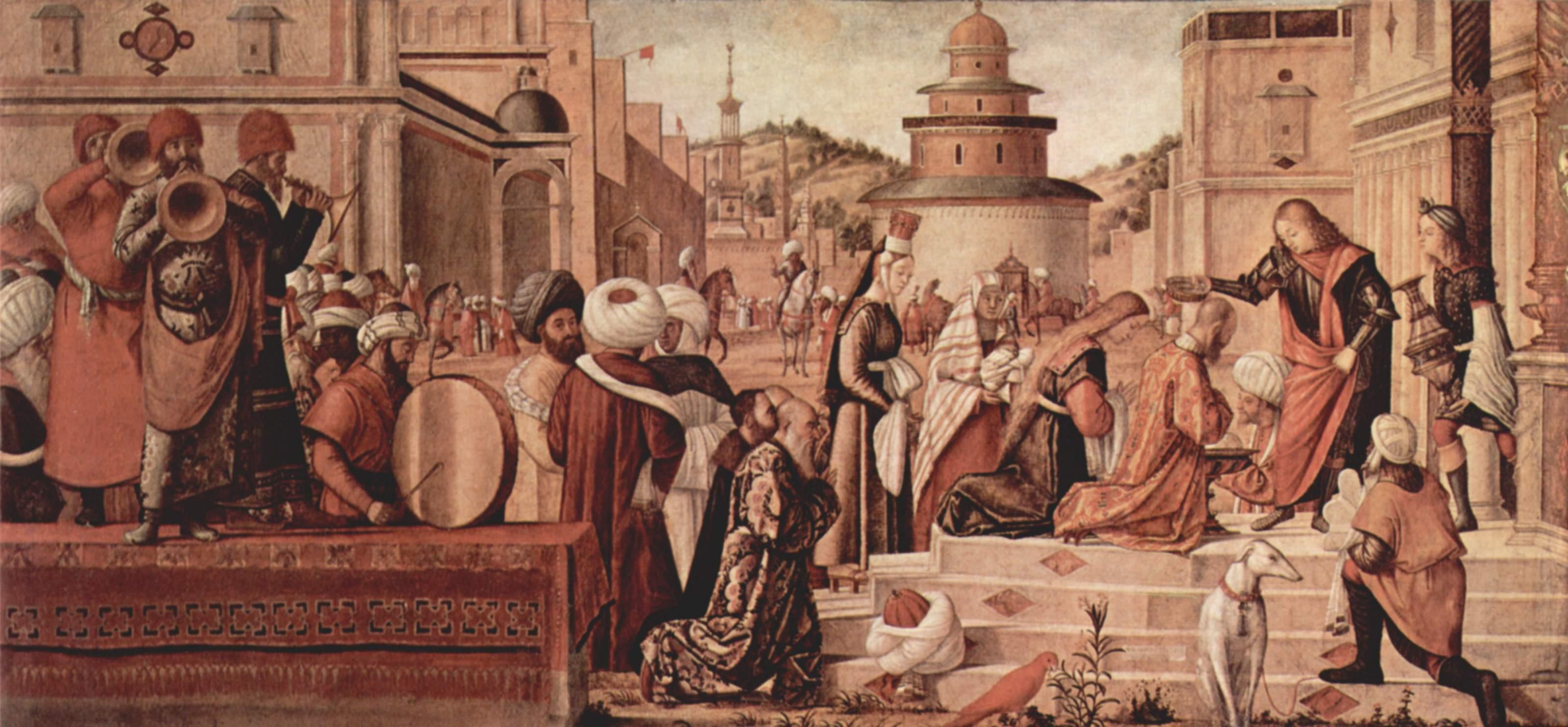 Цикл картин капеллы Скуола ди Сан Джорджио Скьявони, крещение неверующих св. Георгием, Витторе Карпаччо
