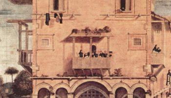 Цикл картин капеллы Скуола ди Сан Джорджио Скьявони, св. Иероним со львом в монастыре. Деталь