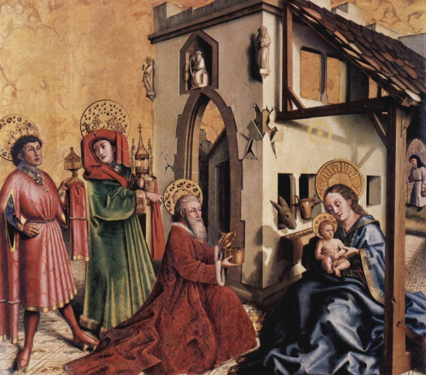 Алтарь св.Петра. Фрагмент алтаря из собора св.Петра в Женеве. Внутренняя сторона левой створки. Поклонение волхвов, Конрад Виц