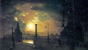 Осенняя ночь в Петербурге. Пристань с египетскими сфинксами на Неве ночью