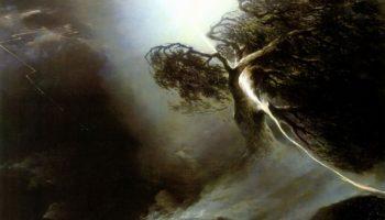 Дуб, раздробленный молнией. Аллегория на смерть жены художника