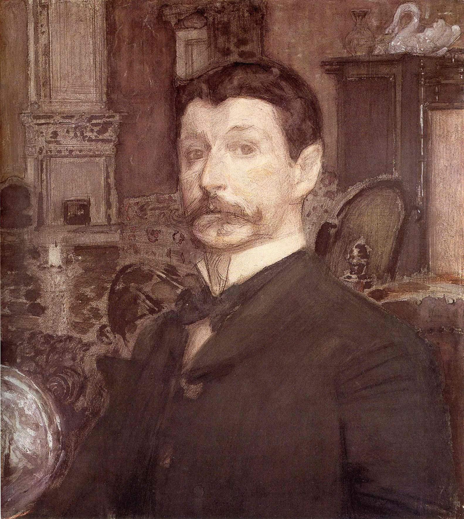 Автопортрет с жемчужной раковиной, Врубель Михаил Александрович