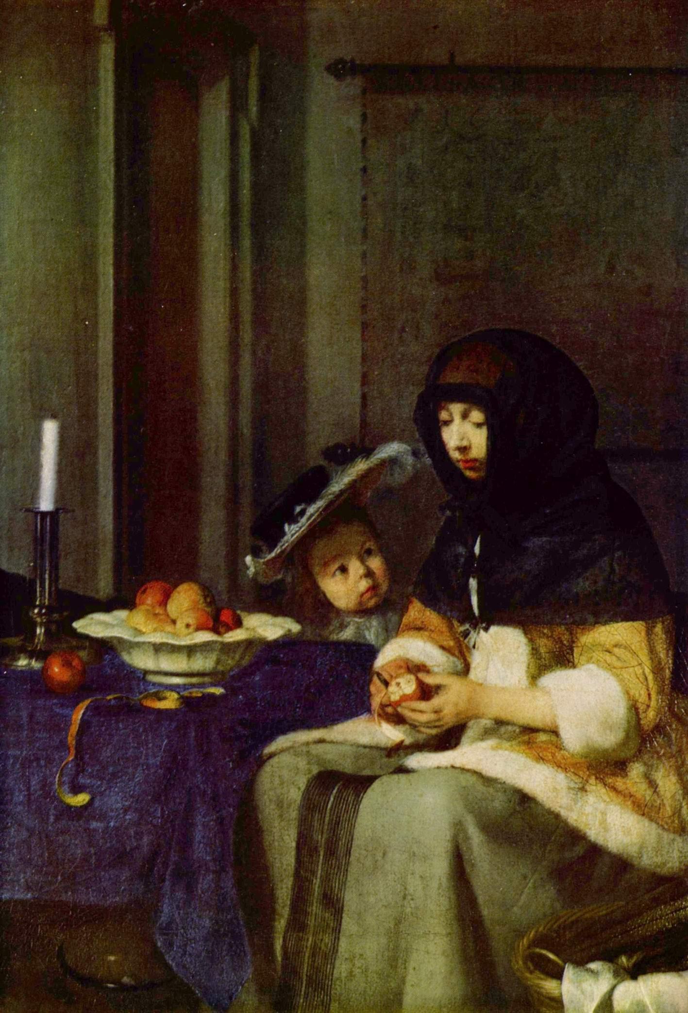 Девушка, чистящая яблоко, Герард тер Борх Младший