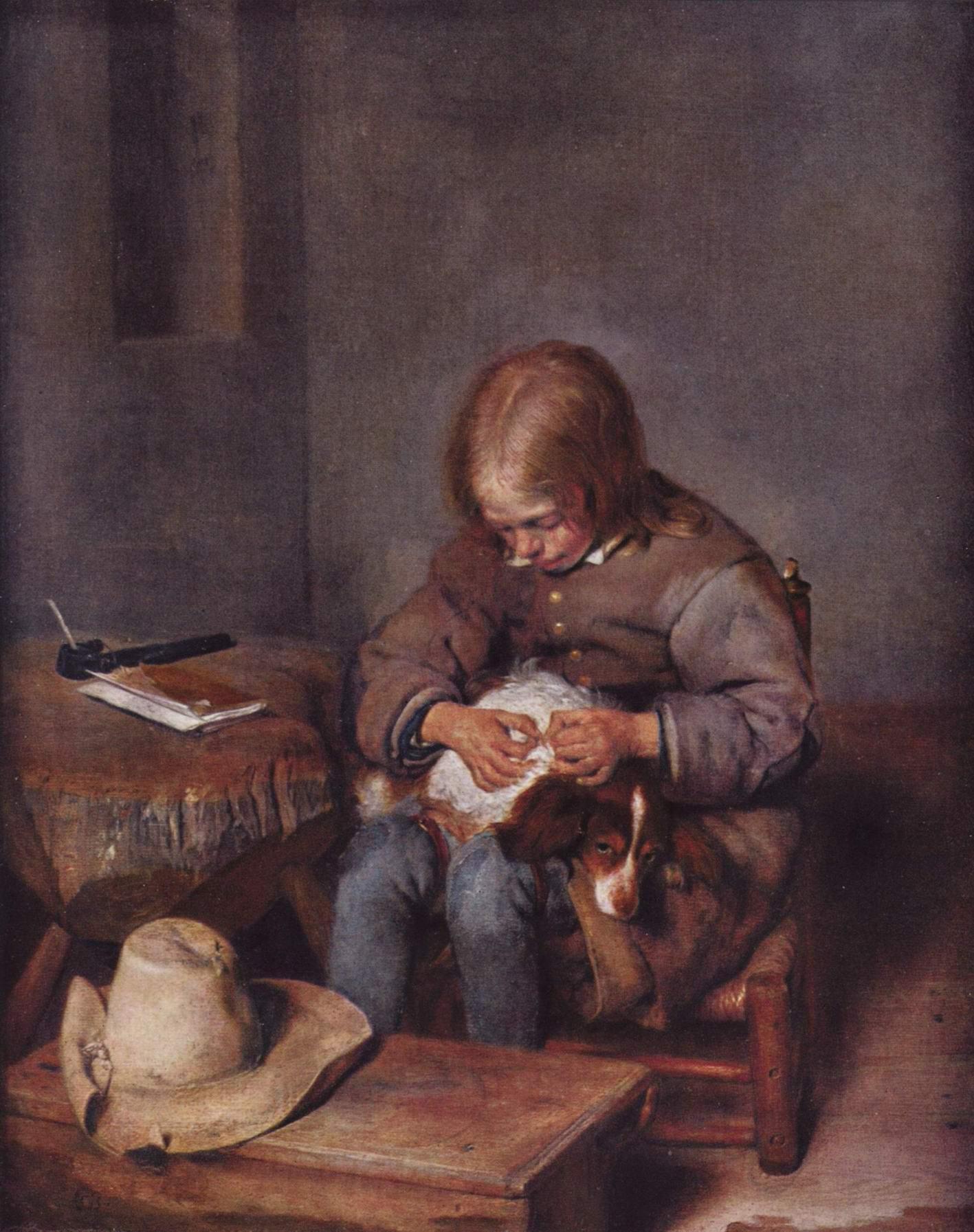Мальчик ищет блох у своей собаки, Герард тер Борх Младший