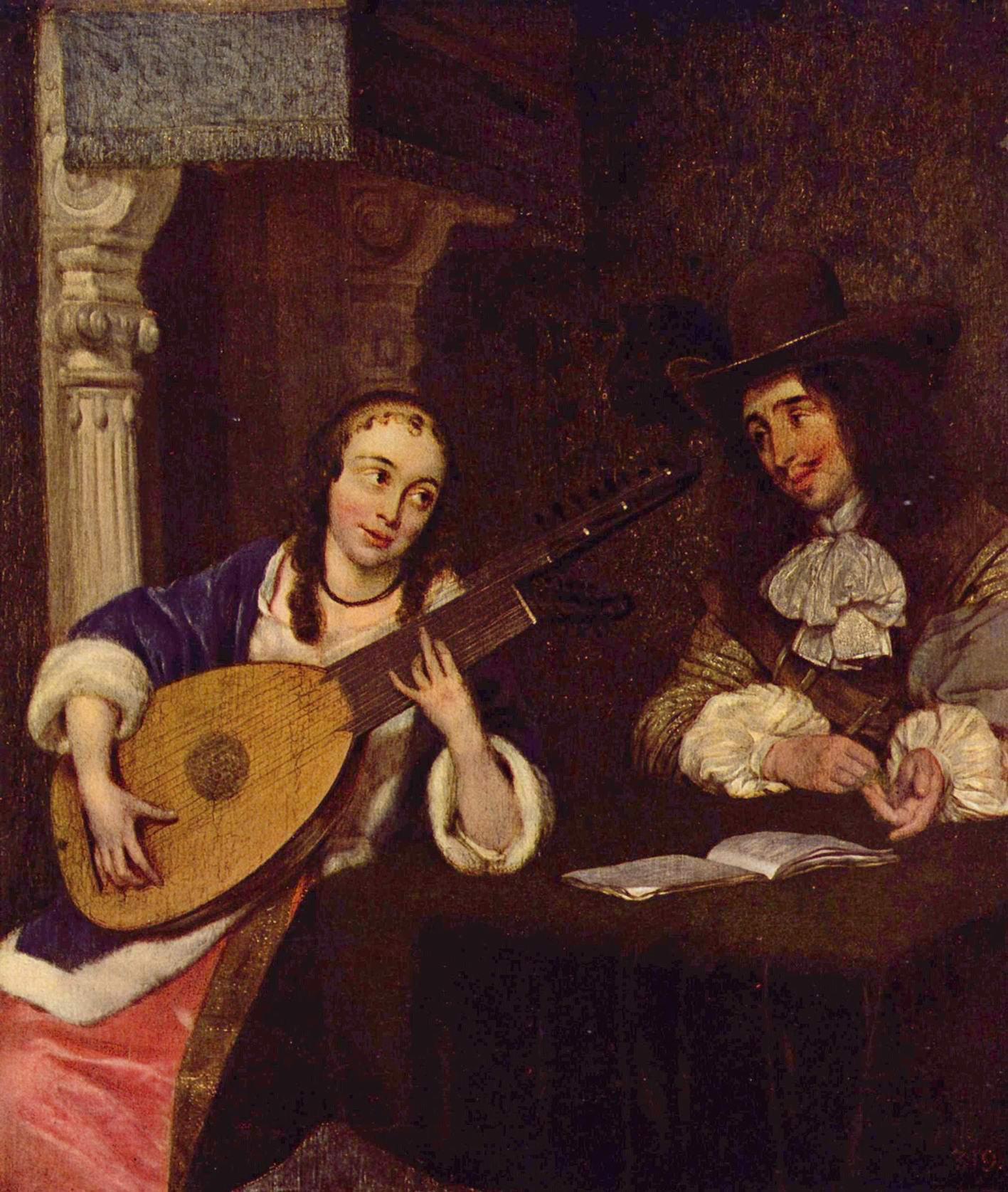 Девушка, играющая на лютне, Герард тер Борх Младший
