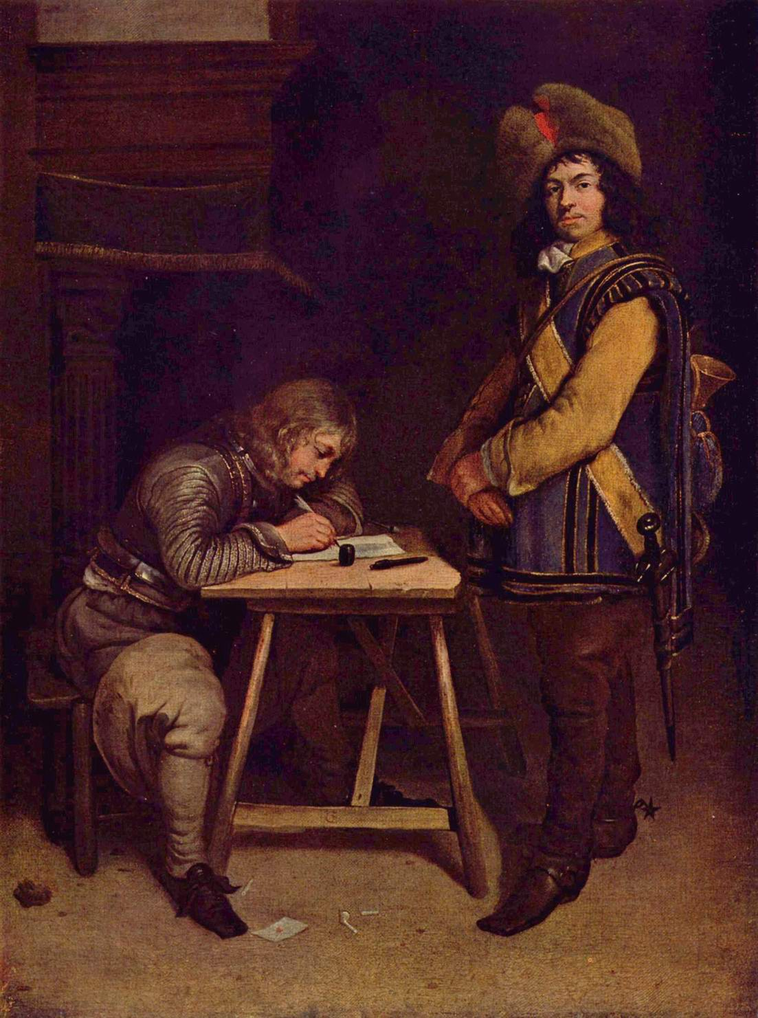 Офицер, пишущий письмо, Герард тер Борх Младший