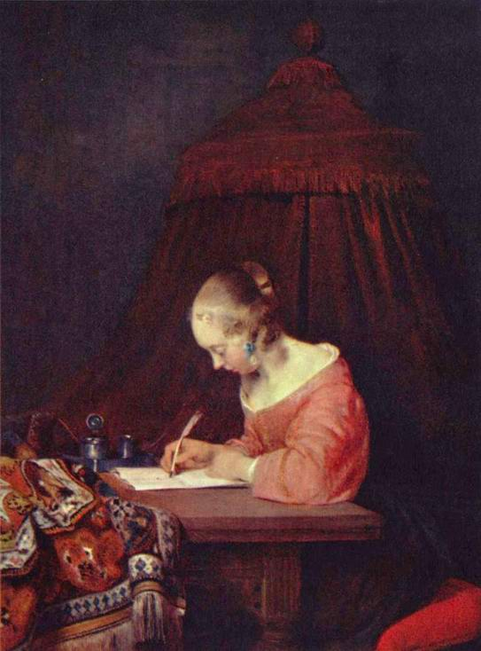 Девушка, пишущая письмо, Герард тер Борх Младший