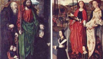 Алтарь Портинари, левая створка. Свв. Антоний и Фома с Томмазо Портинари и двумя его сыновьями; прав