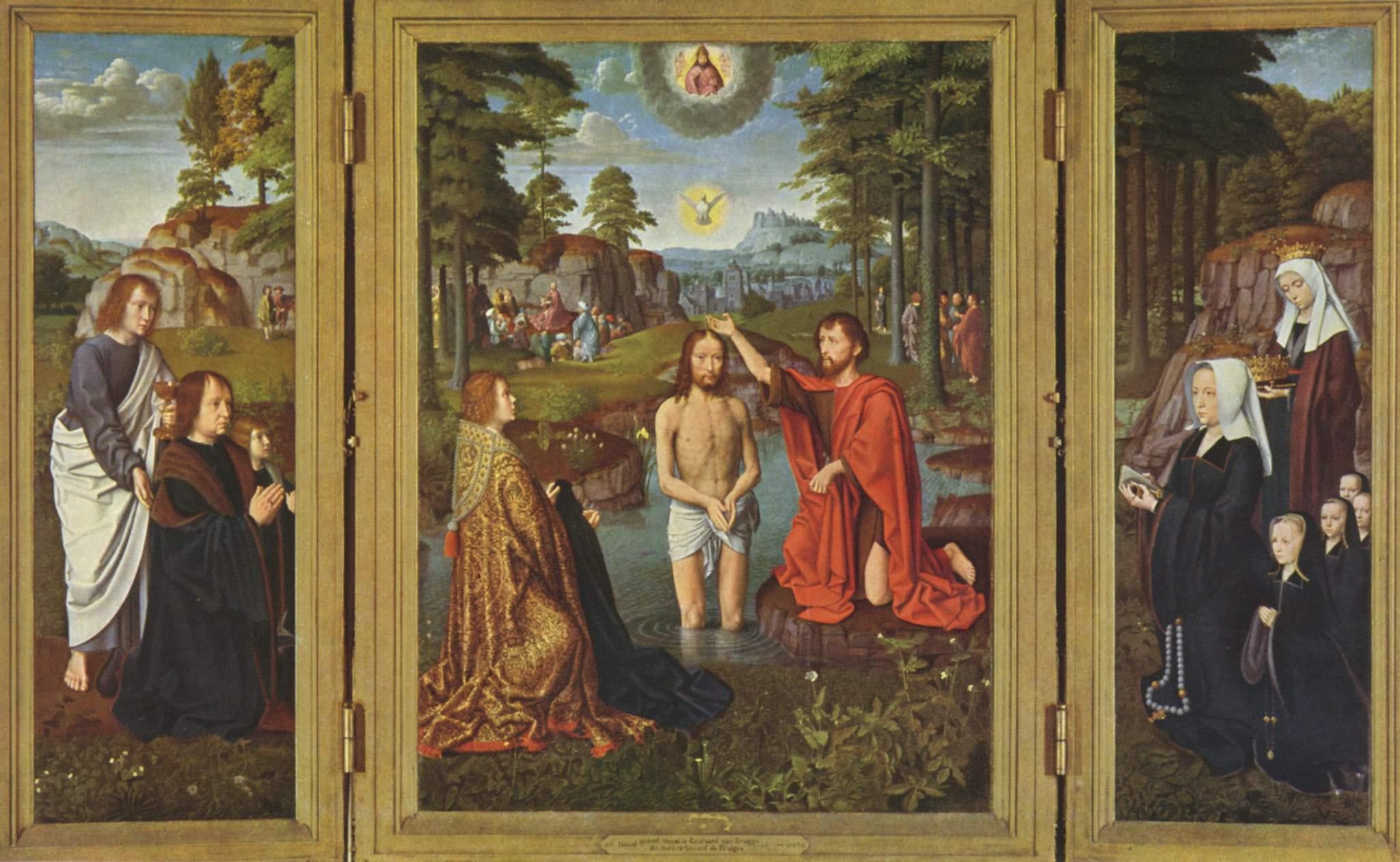 Алтарь Жана де Тромпе  Крещение Христа, донаторы со святыми - покровителями, Давид Герард