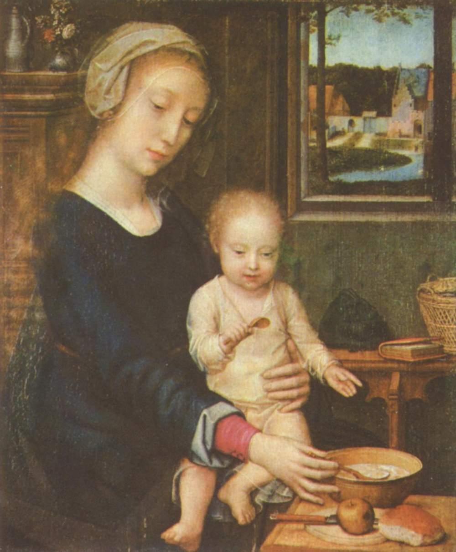 Мадонна кормит младенца Иисуса кашей, Давид Герард