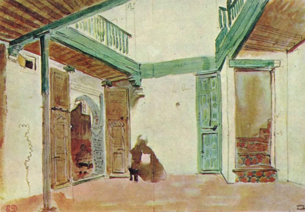 Внутренний двор марокканского дома, Делакруа Эжен Фердинанд Виктор