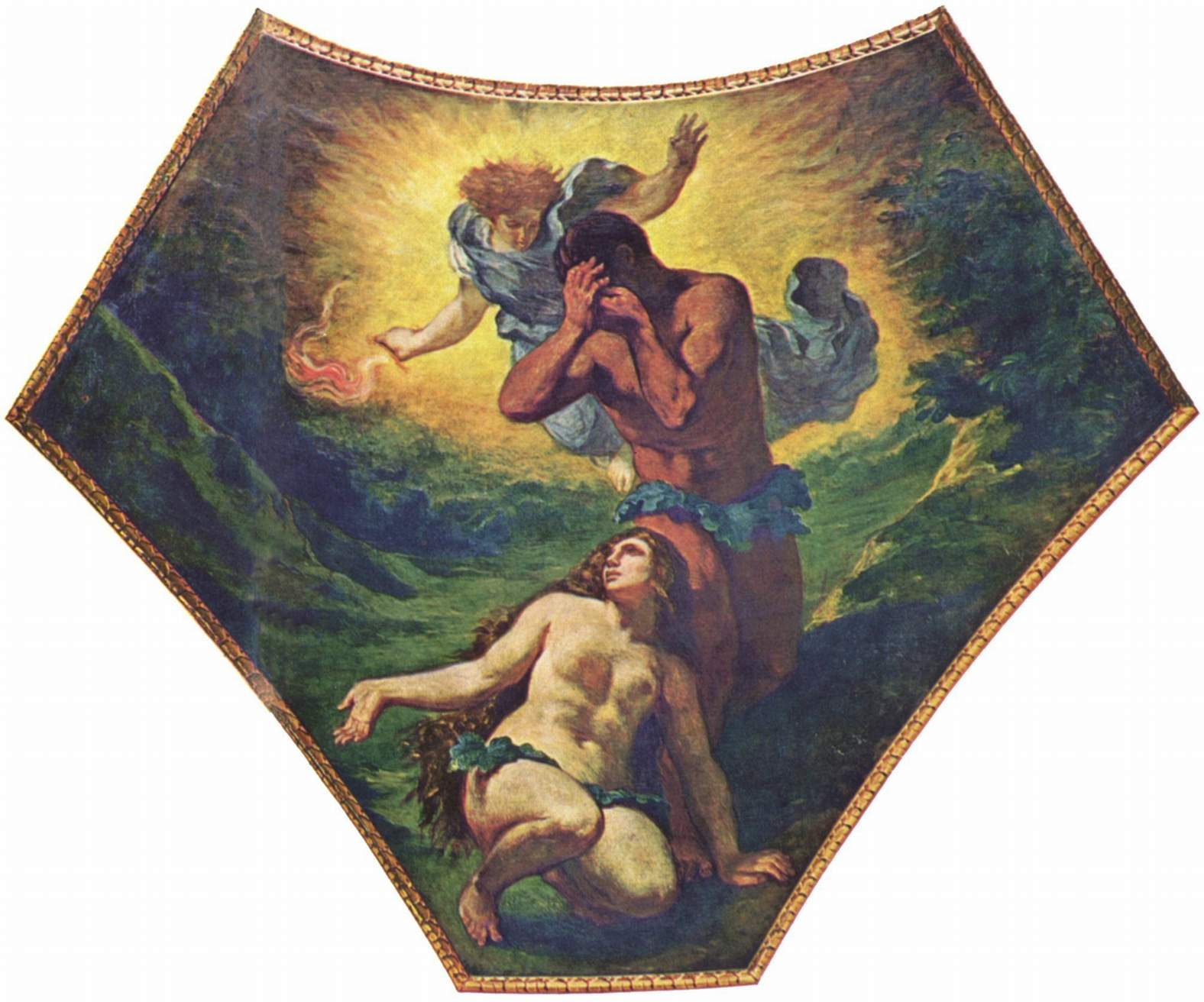 Бурбонский дворец, роспись паруса под куполом Теологии  Адам и Ева, Делакруа Эжен Фердинанд Виктор