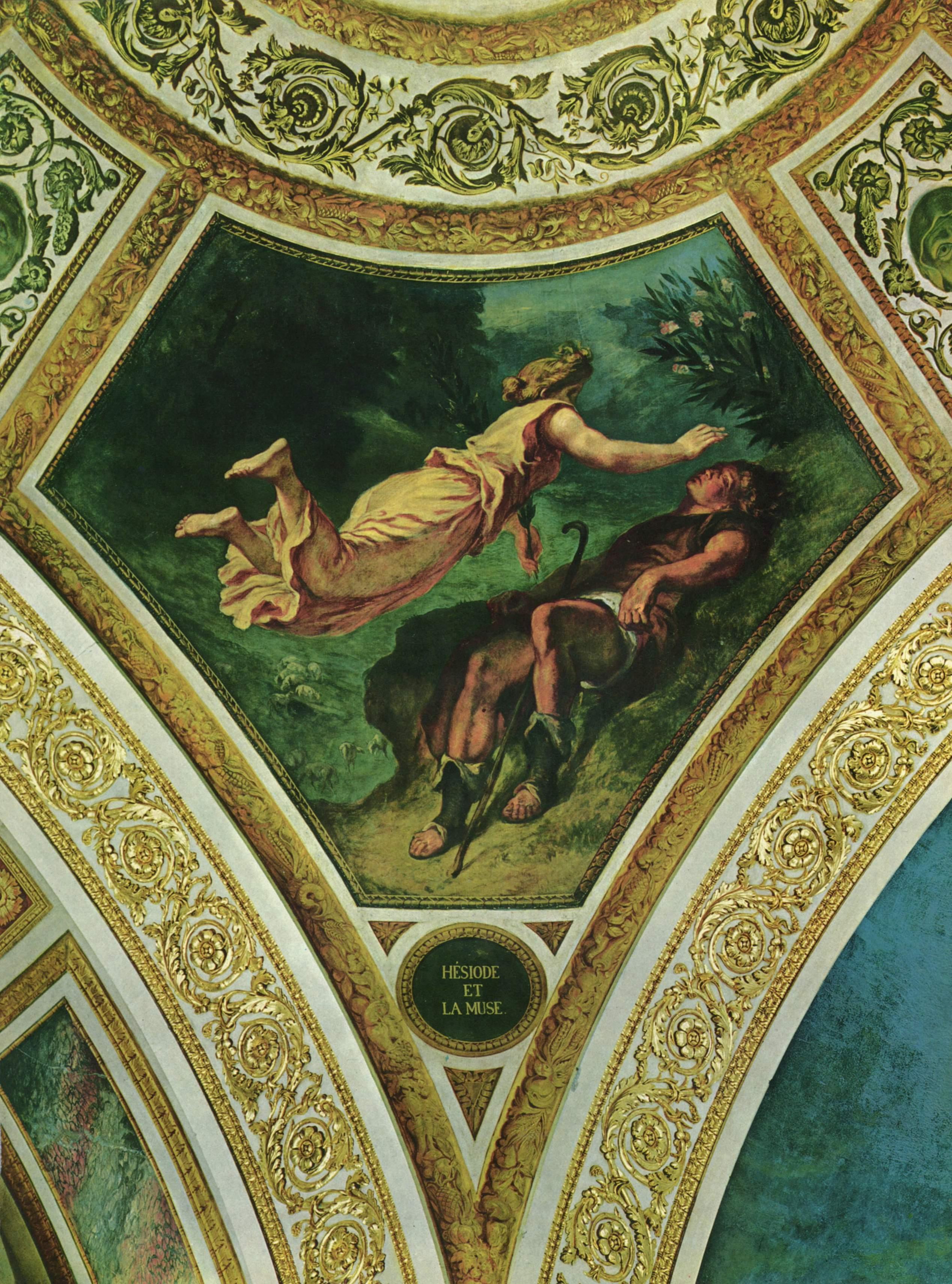 Бурбонский дворец, роспись паруса под куполом Поэзии  Гесиод и Муза, Делакруа Эжен Фердинанд Виктор