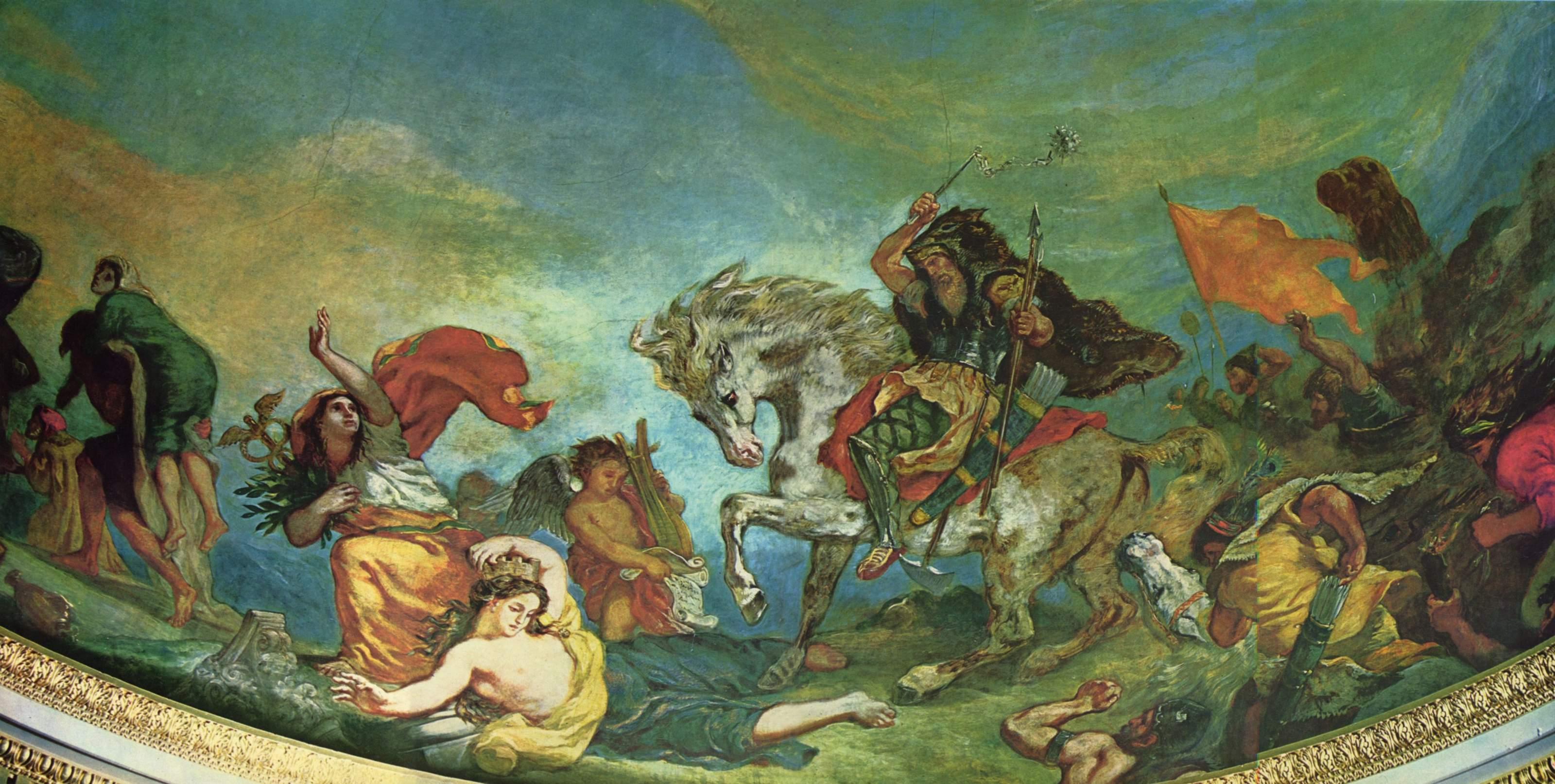 Атилла попирает Италию и Искусства. Деталь, Делакруа Эжен Фердинанд Виктор