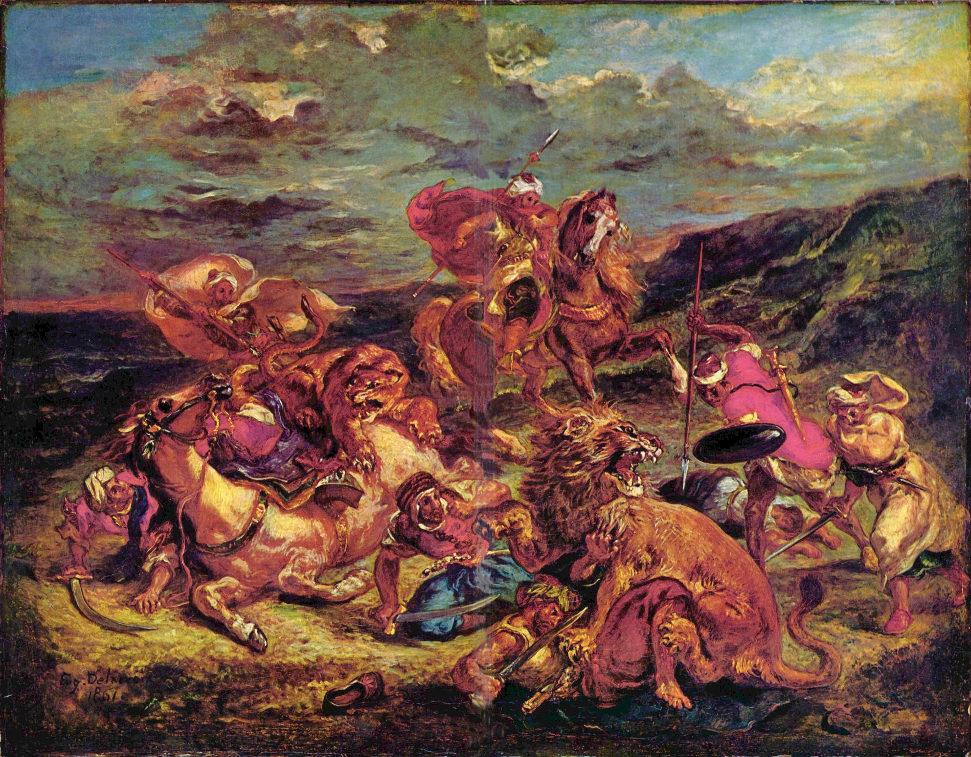 Охота на львов, Делакруа Эжен Фердинанд Виктор