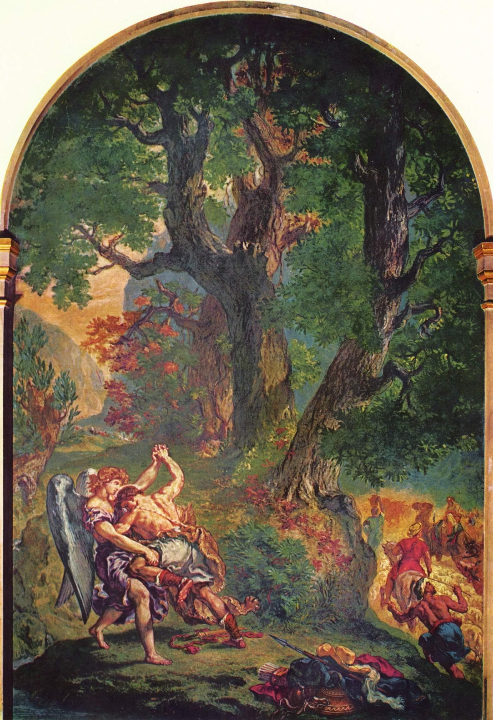 Церковь св. Сульпиция, Капелла св. Ангела  Борьба Иакова с ангелом, Делакруа Эжен Фердинанд Виктор