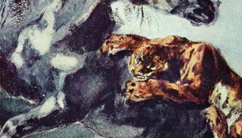 Тигр, напавший на лошадь