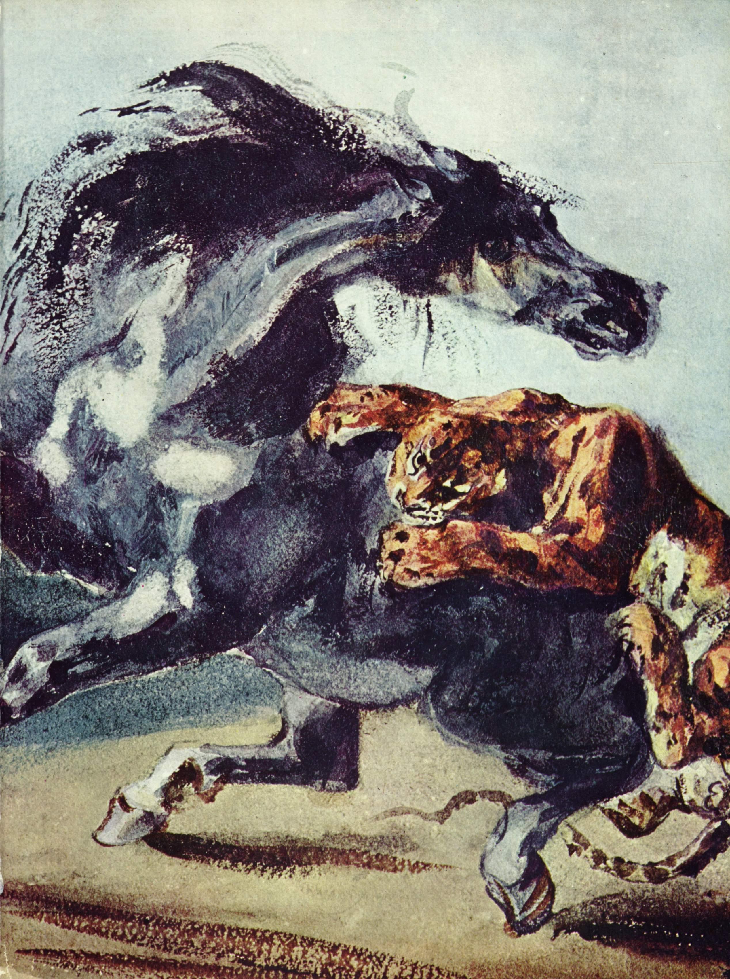 Тигр, напавший на лошадь, Делакруа Эжен Фердинанд Виктор