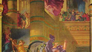 Церковь св. Сульпиция, капелла св. Ангела, сцена: изгнание Гелиодора из Храма
