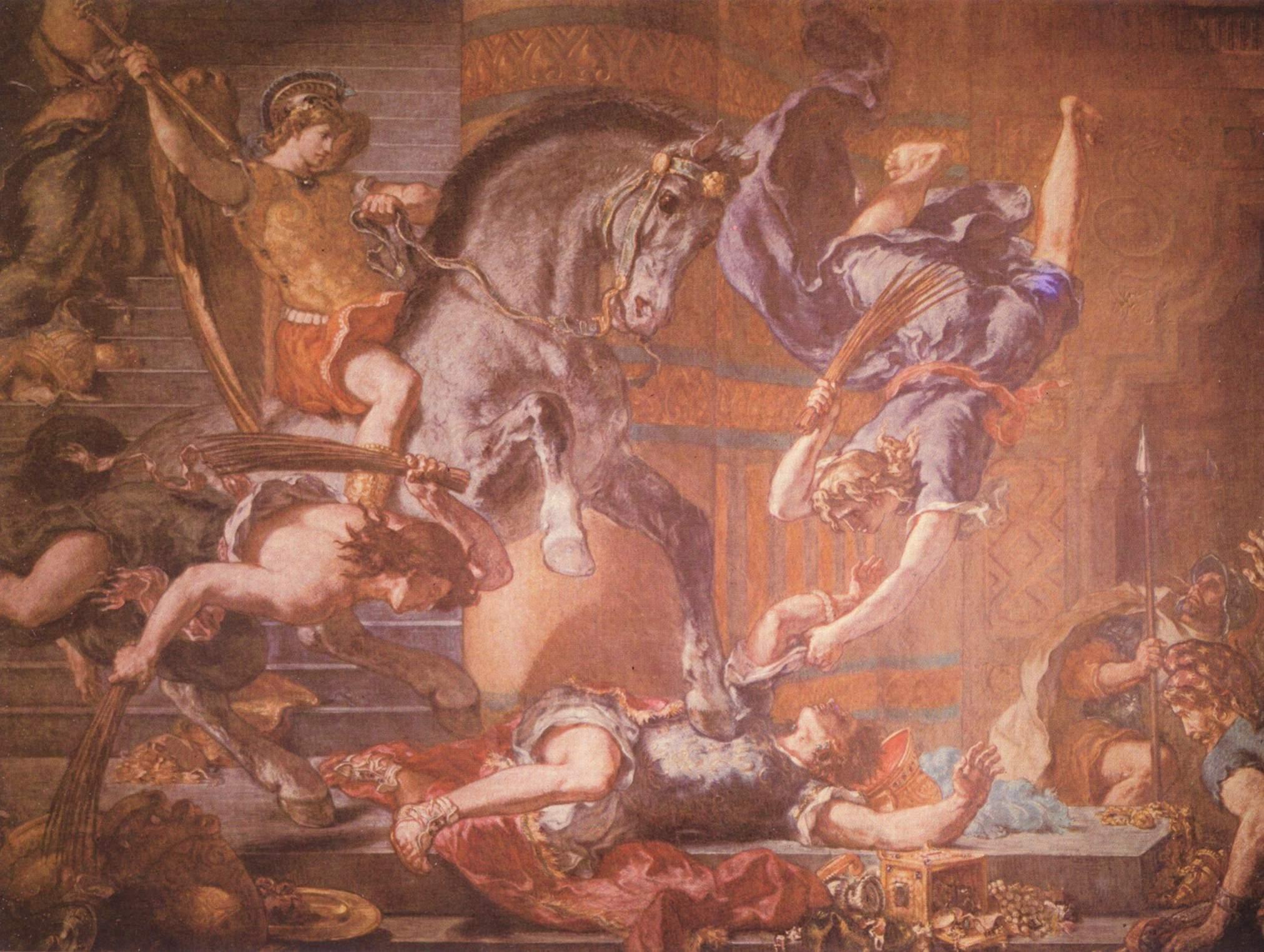 Церковь св. Сульпиция, капелла св. Ангела, изгнание Элиодора из Храма. Деталь, Делакруа Эжен Фердинанд Виктор