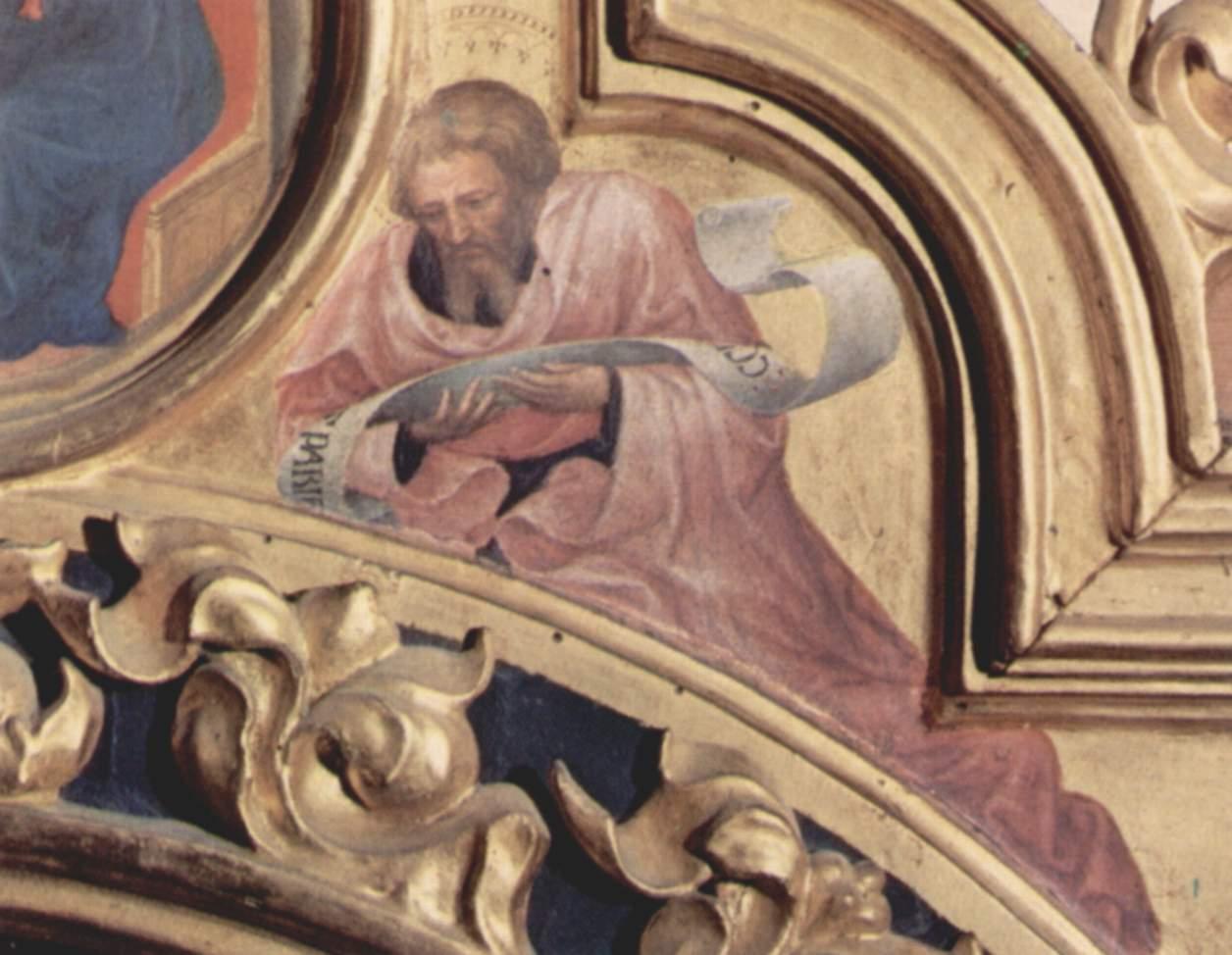 Поклонение волхвов, правая часть навершия, справа  пророк Исаия, Джентиле да Фабриано