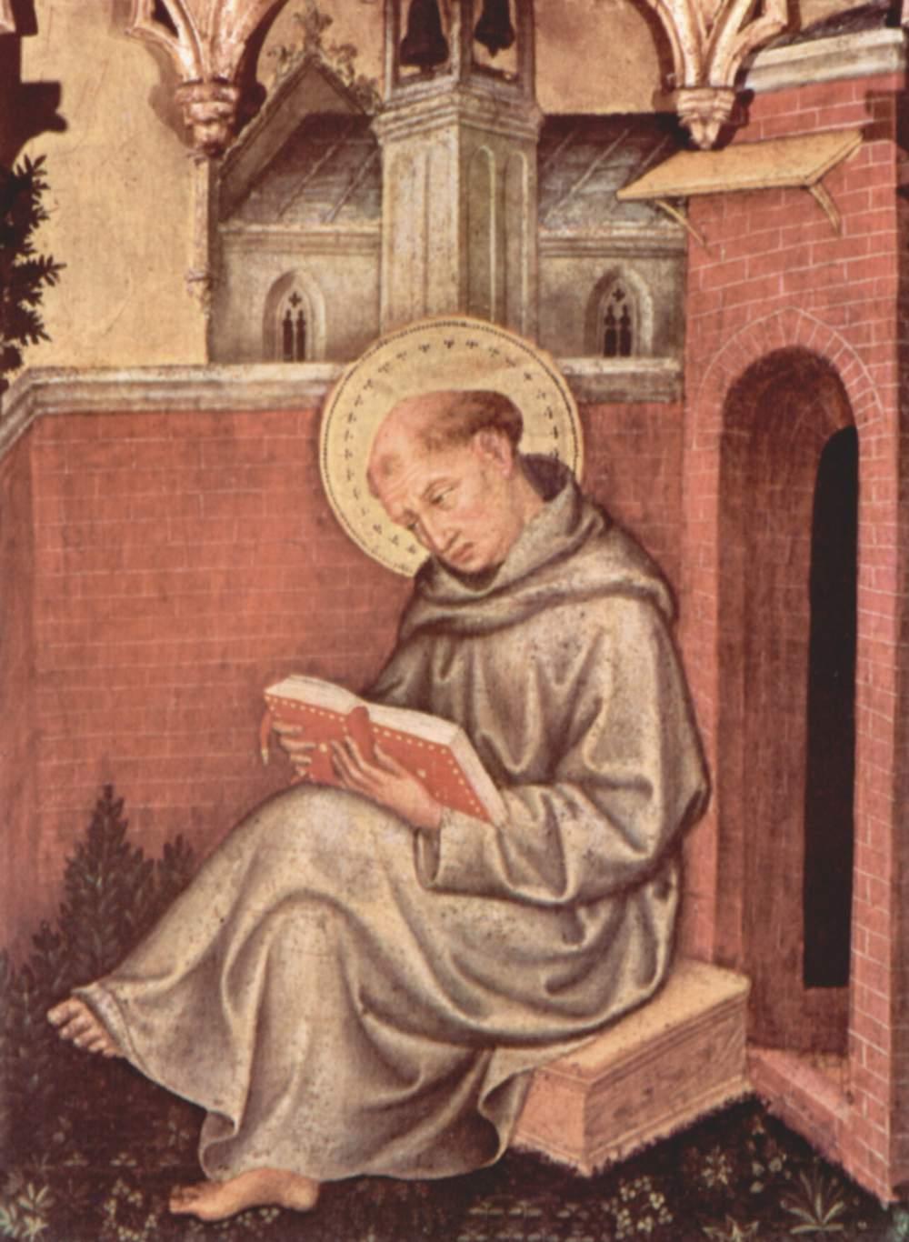 Коронование Марии [12], навершие, правая внутренняя створка. св. Фома Аквинский, Джентиле да Фабриано