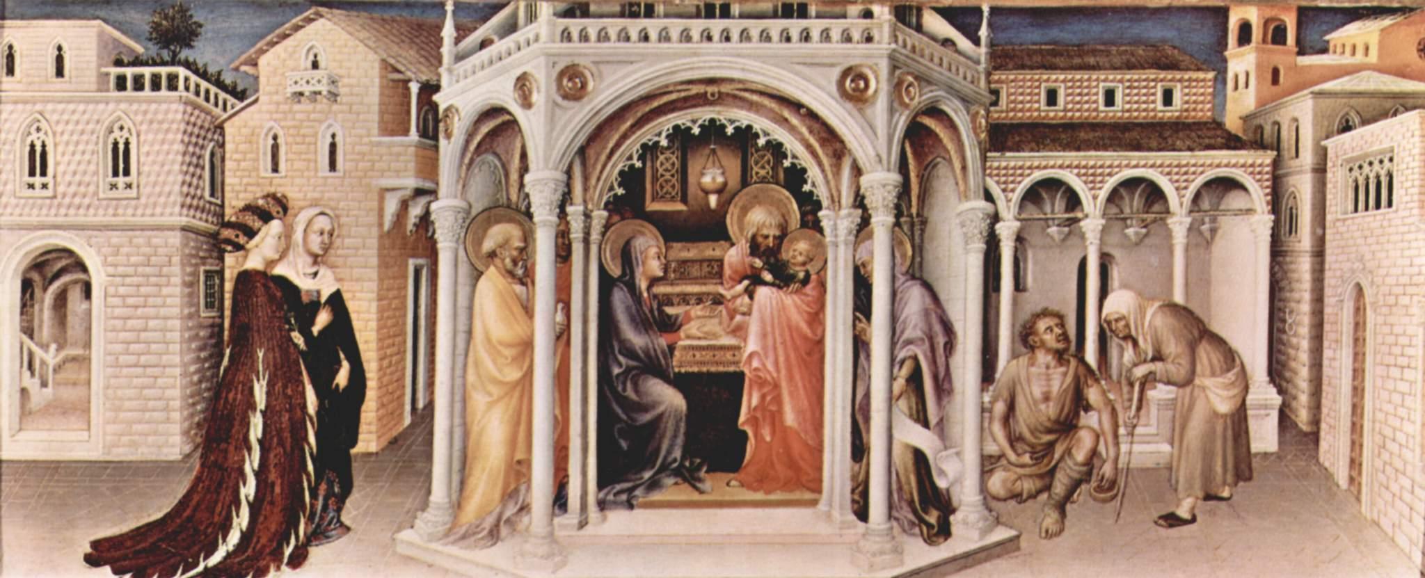 Поклонение волхвов, левая доска пределлы  сретение, Джентиле да Фабриано
