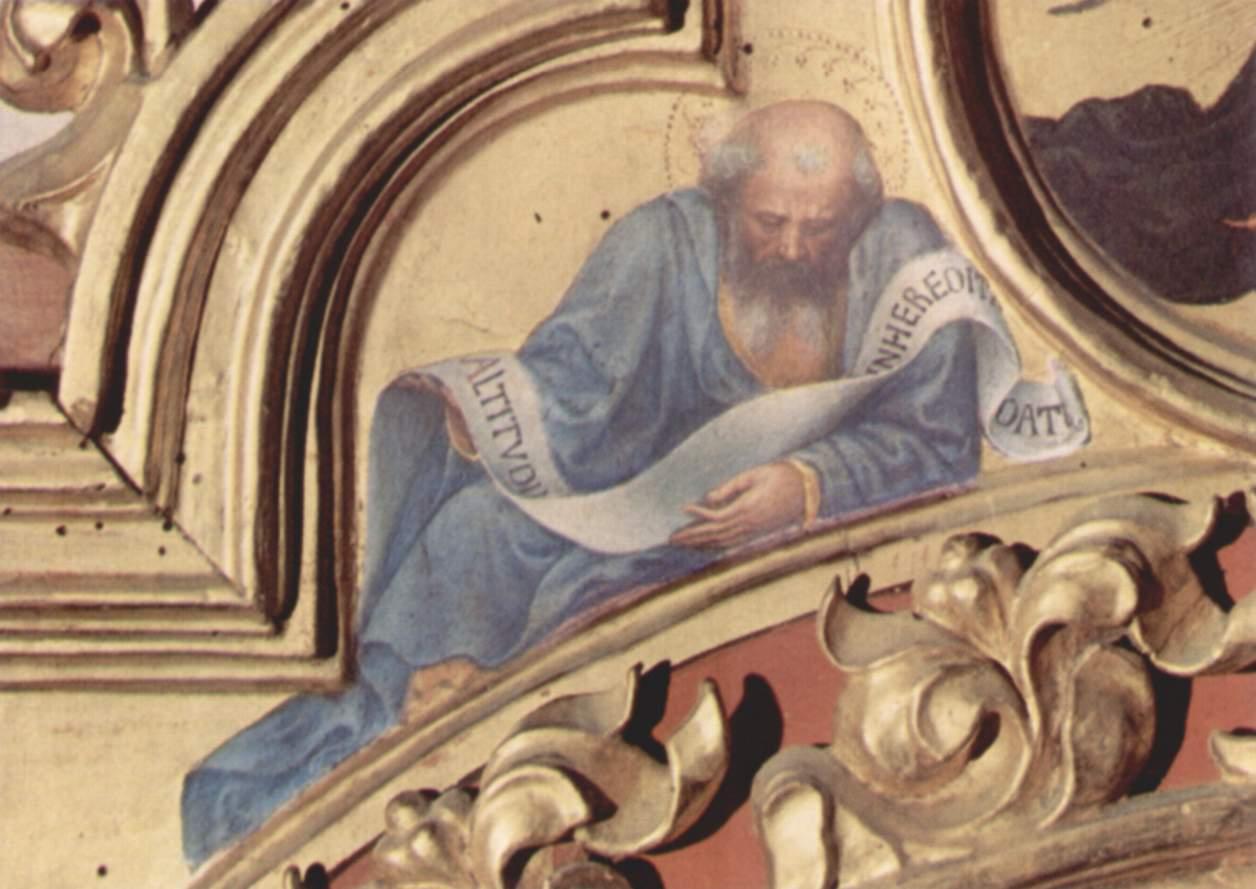 Поклонение волхвов, левая часть навершия, слева  пророк Иезекииль, Джентиле да Фабриано