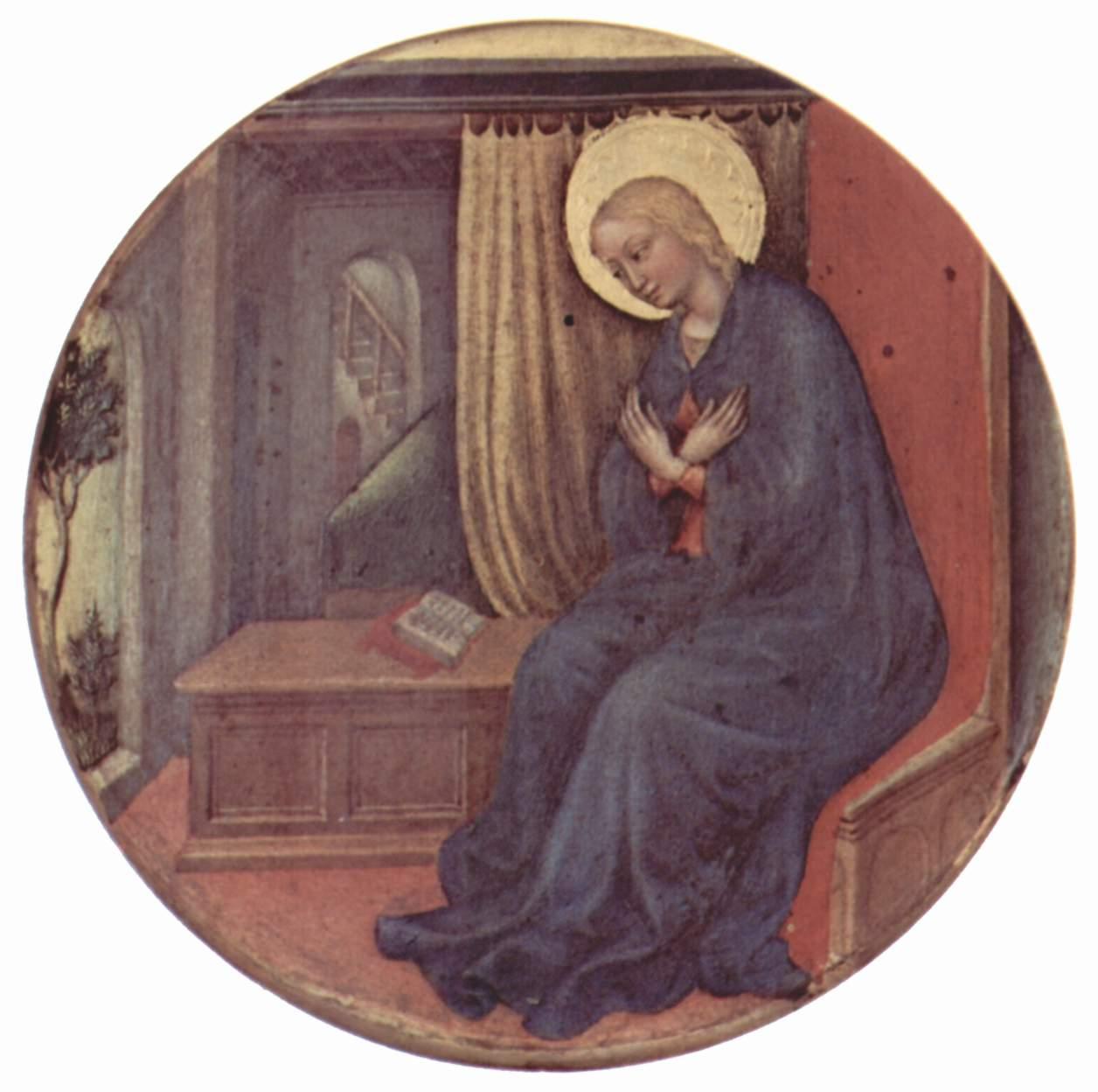Поклонение волхвов, правое тондо навершия  Дева Мария, принимающая благовещение, Джентиле да Фабриано