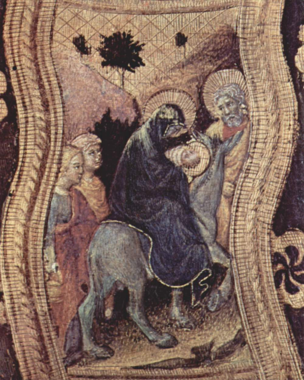 Полиптих Кваратези [07], боковая доска. св. Николай из Бари. Фрагмент. Бегство в Египет, Джентиле да Фабриано