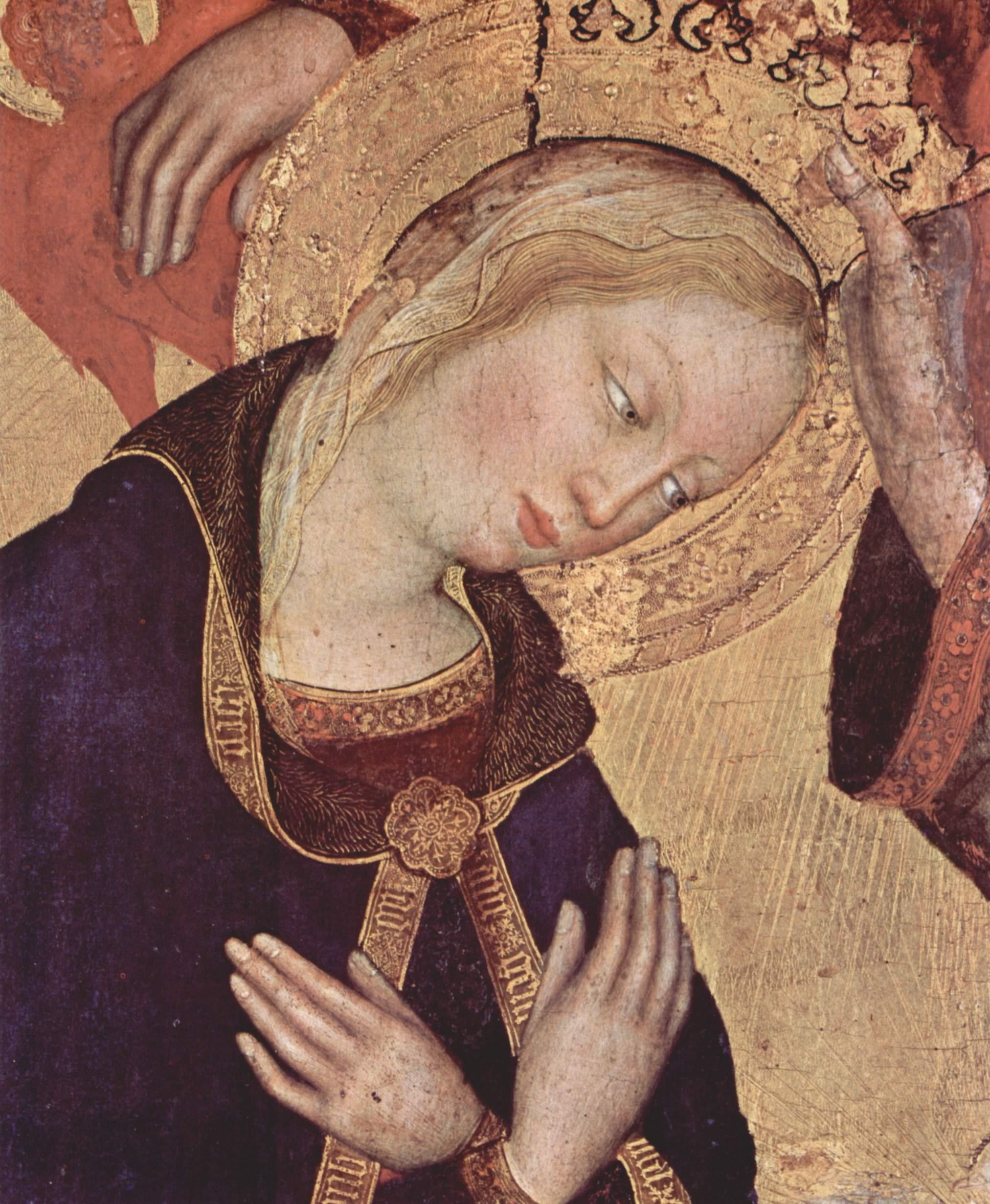 Коронование Марии [07], центральная часть. Коронование Марии. Фрагмент. Мария, Джентиле да Фабриано