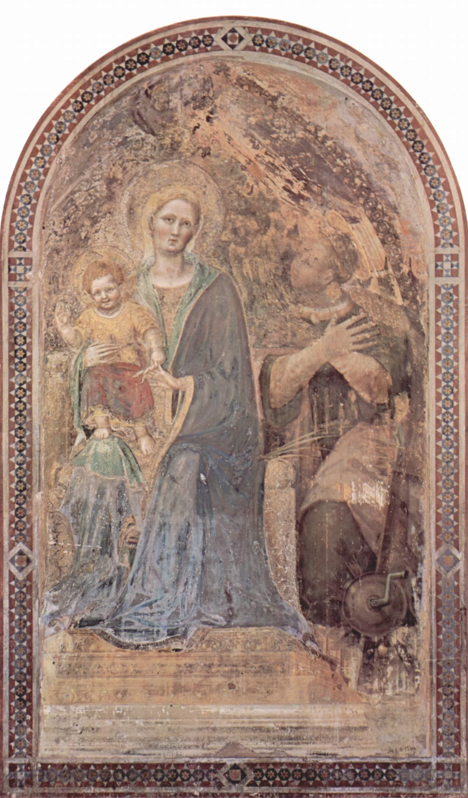 Фреска из собора в Урбино. Мадонна. Фрагмент, Джентиле да Фабриано