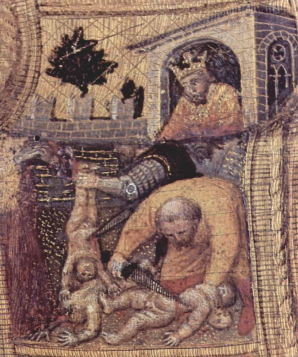 Полиптих Кваратези [04], боковая доска. св. Николай из Бари. Фрагмент. Избиение младенцев, Джентиле да Фабриано
