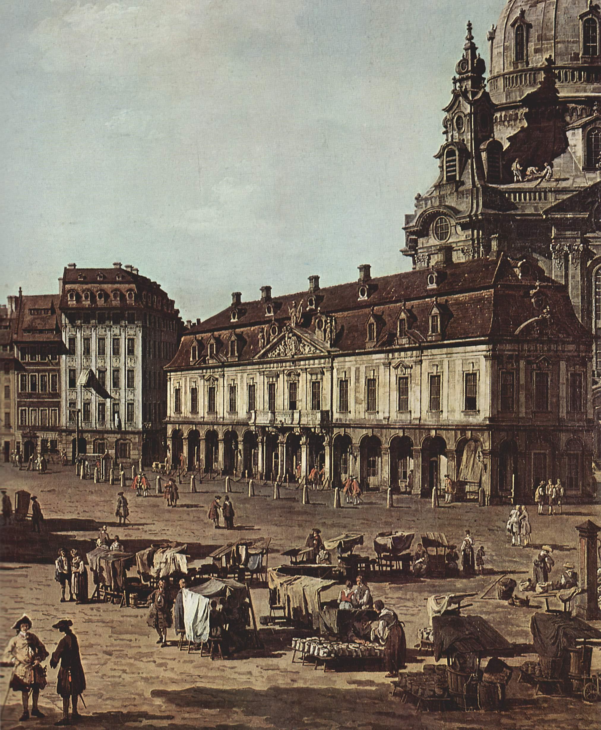 Вид Дрездена, новый рынок со стороны Моритцштрассе. Деталь, Джованни Антонио Каналетто 1