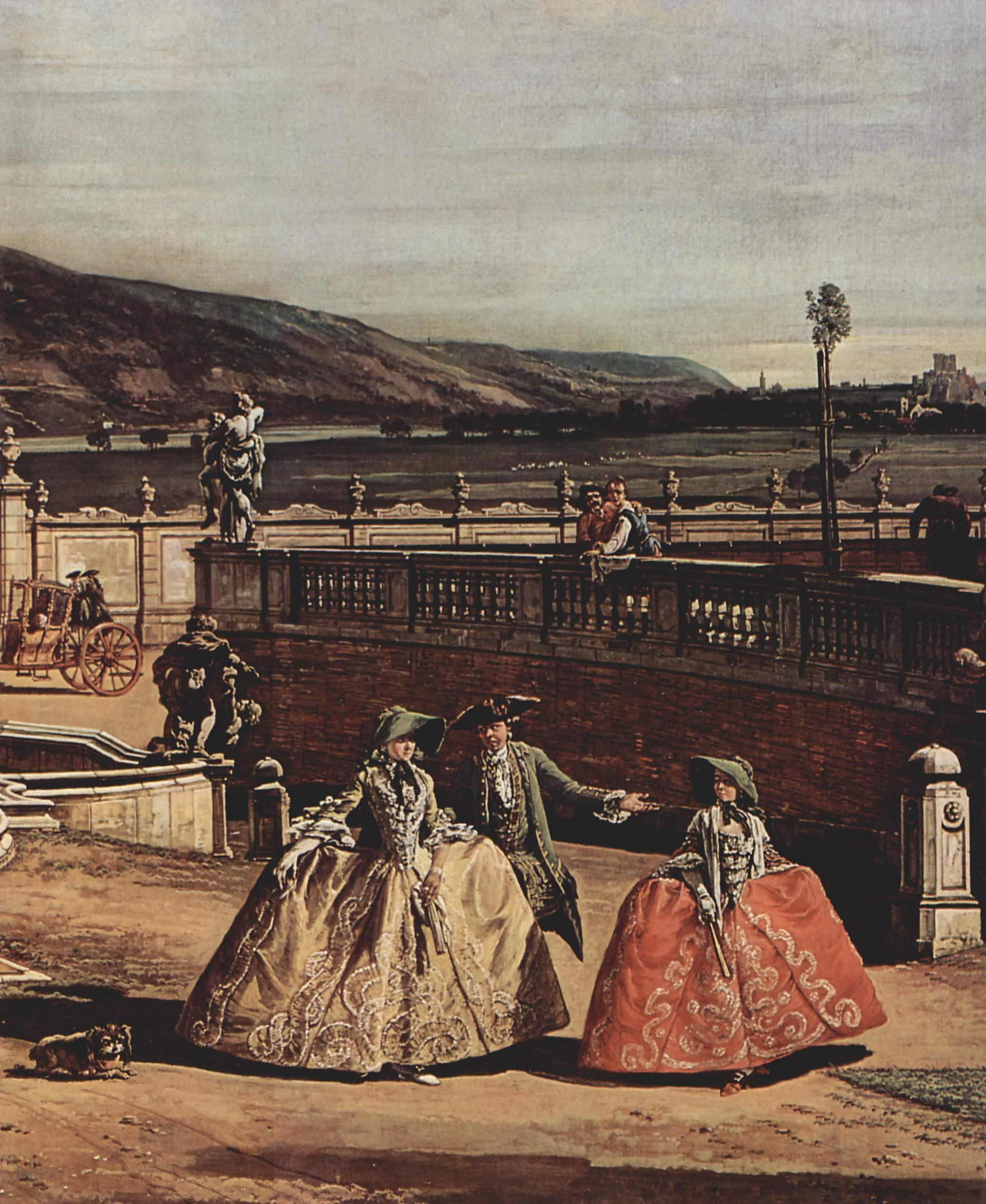 Вид Вены, замок, парадный двор, общий вид замка. Деталь, Джованни Антонио Каналетто 1
