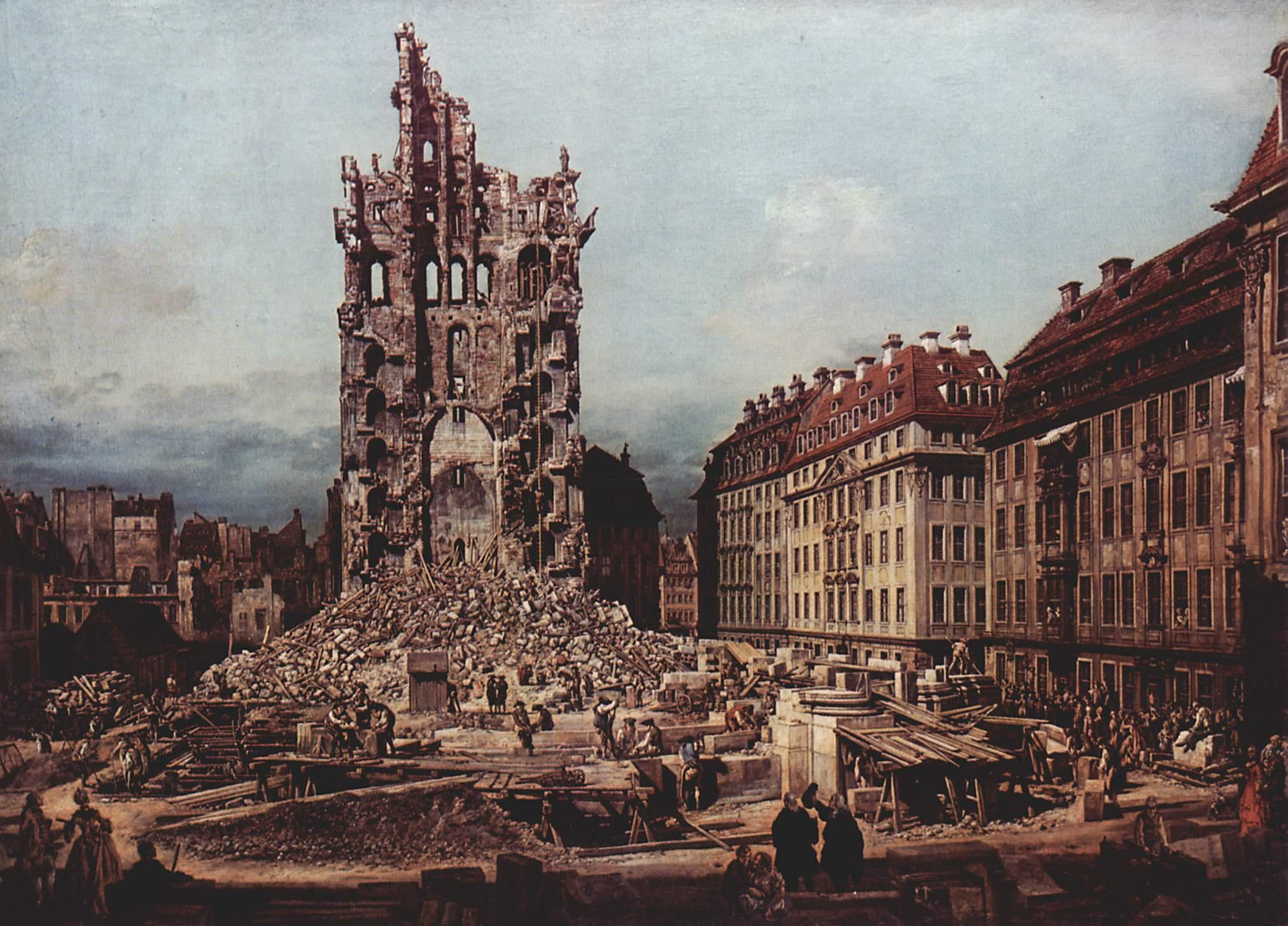 Вид Дрездена, руины церкви Воздвижения, вид с востока, Джованни Антонио Каналетто 1