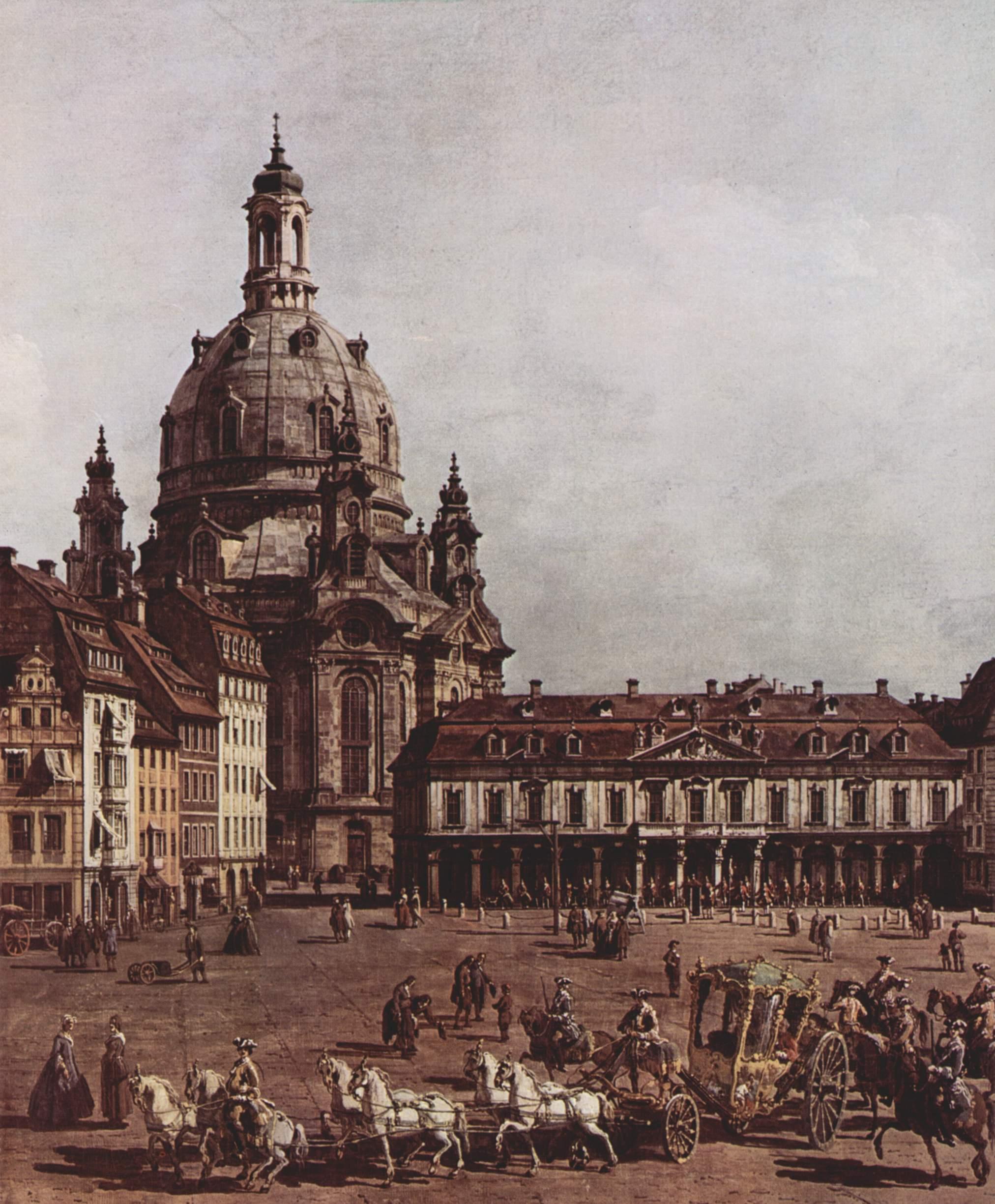 Вид Дрездена, Новый рынок со стороны Еврейского подворья. Деталь, Джованни Антонио Каналетто 1