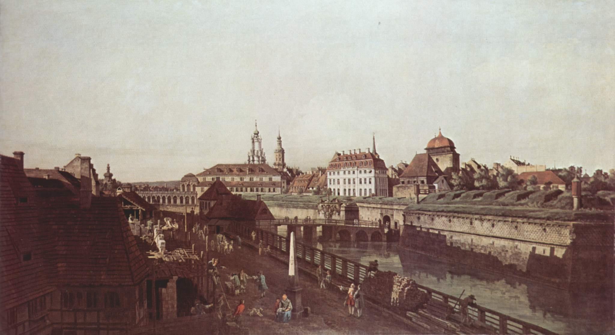 Вид Дрездена, крепостные укрепления в Дрездене, крепостной ров с мостом, Джованни Антонио Каналетто 1