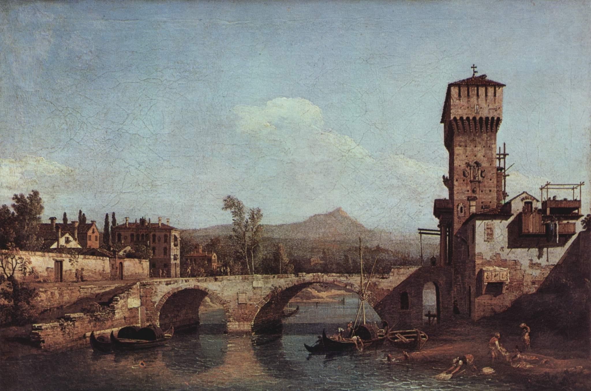 Венецианское каприччио  река, мост и средневековые городские ворота, Джованни Антонио Каналетто 1
