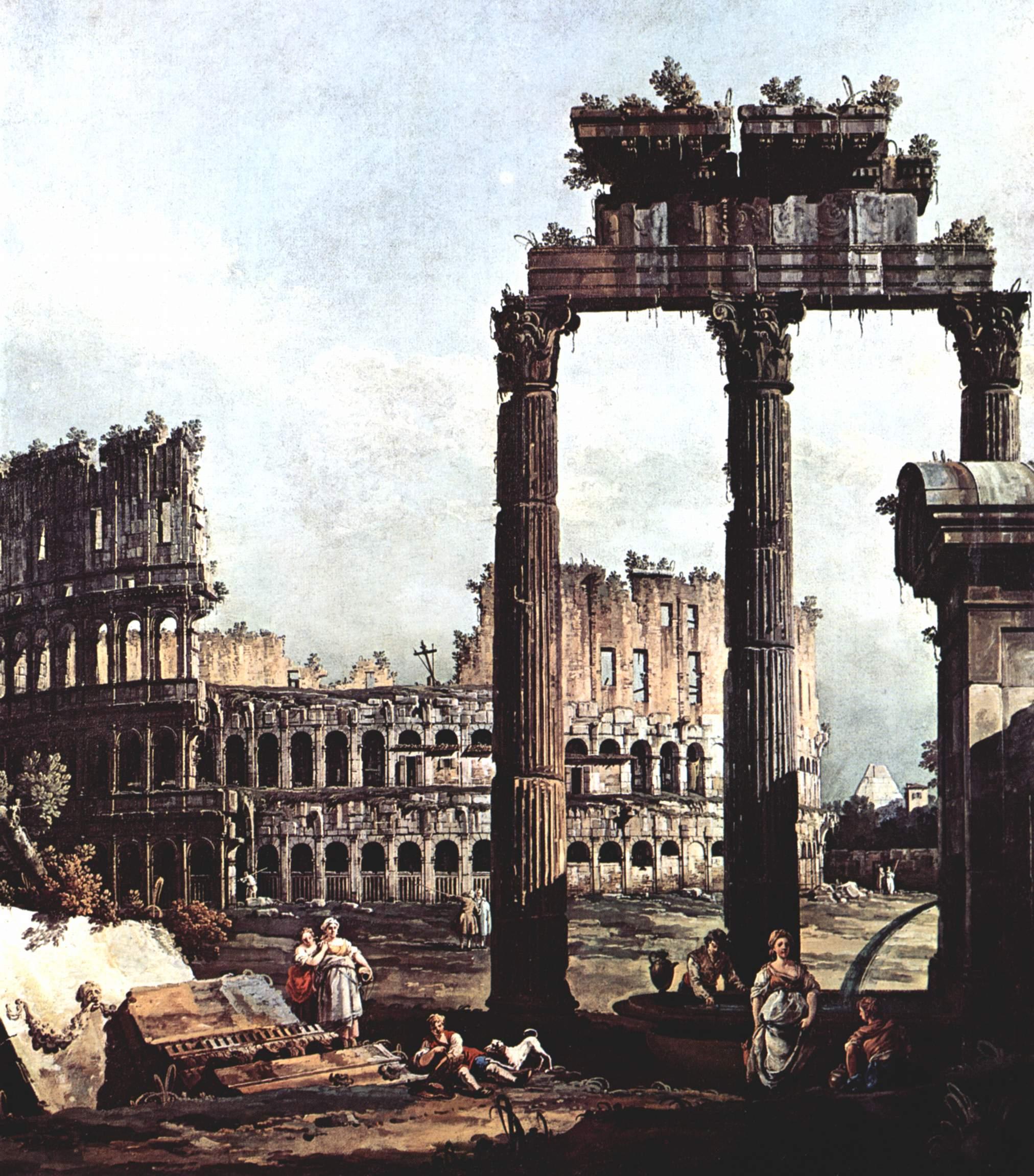 Римское каприччио, Колизей и руины храма Веспиана, Джованни Антонио Каналетто 1