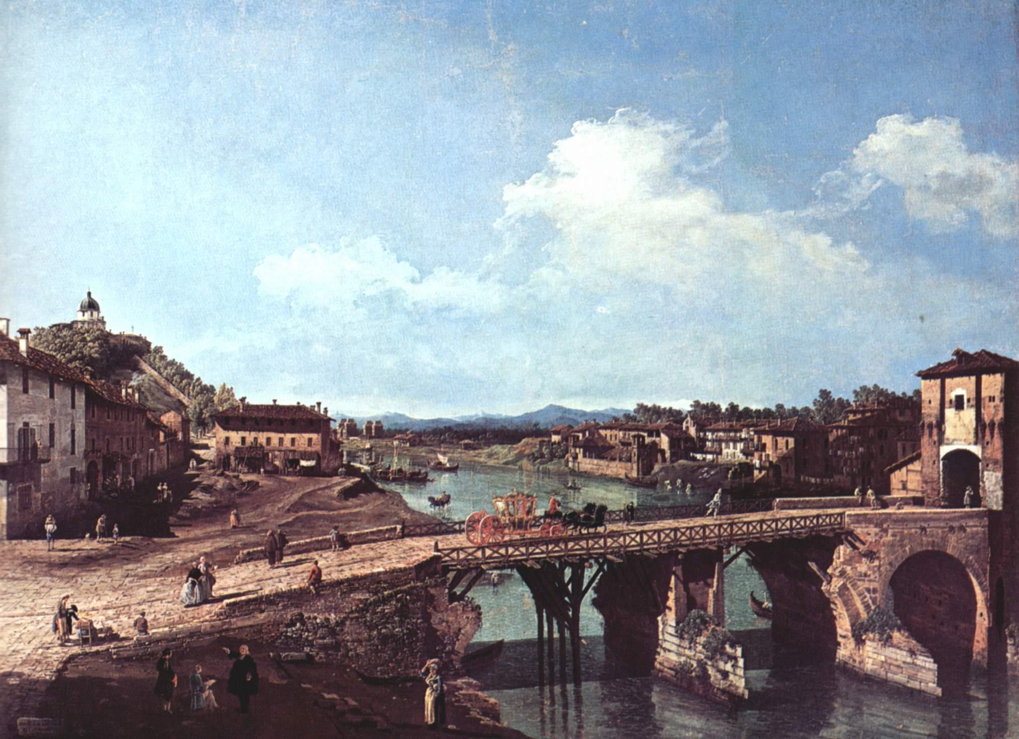 Вид на античный мост на реке По в Турине, Джованни Антонио Каналетто 1