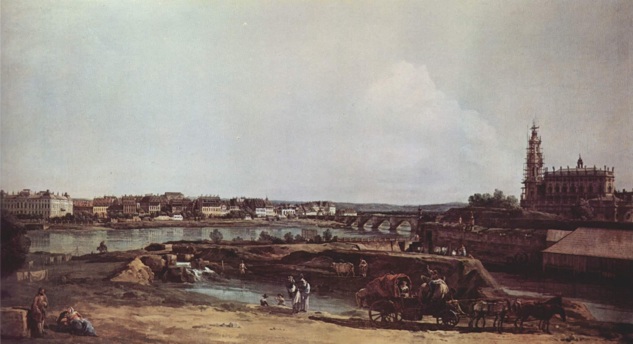 Вид Дрездена с левого берега Эльбы. Бастион Соль, мост Августа и придворная церковь, Джованни Антонио Каналетто 1