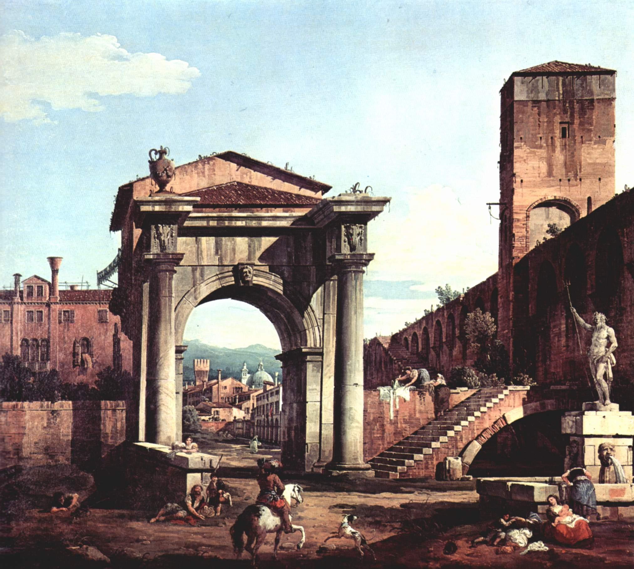 Римское каприччио, городские ворота и сторожевая башня, Джованни Антонио Каналетто 1