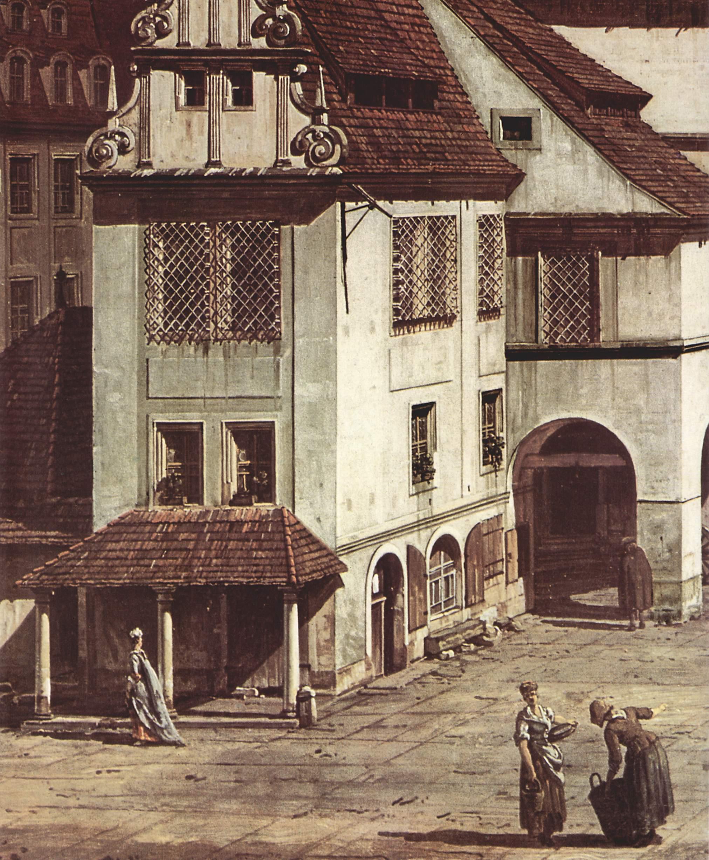 Вид Пирны, рыночная площадь в Пирне. Деталь, Джованни Антонио Каналетто 1