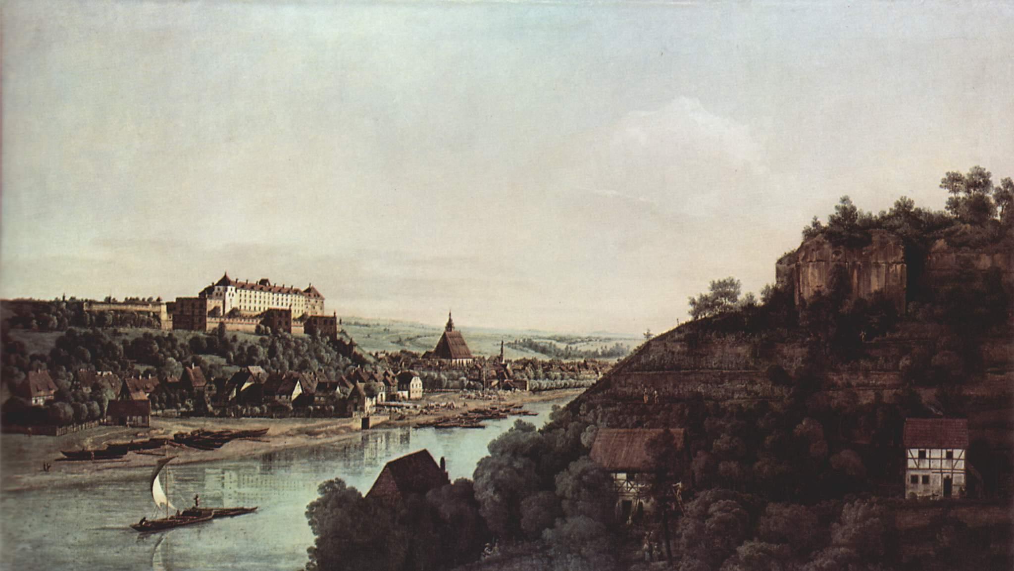 Вид Пирны, Пирна со стороны виноградников близ Просто, с крепостью Зонненшайн, Джованни Антонио Каналетто 1