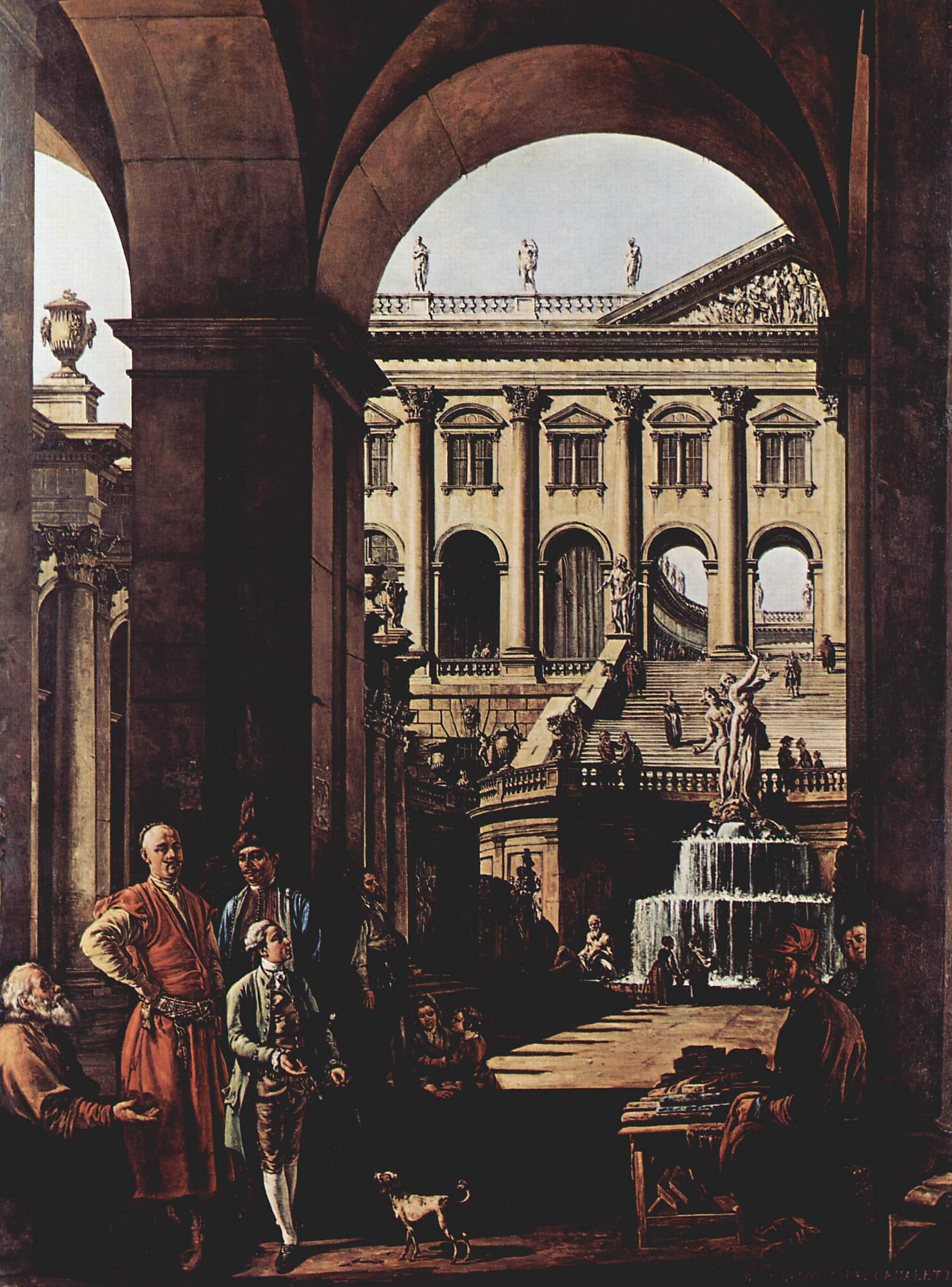 Каприччио, дворцовые ворота, лоджия и большой фонтан в Войода Потоки, Джованни Антонио Каналетто 1