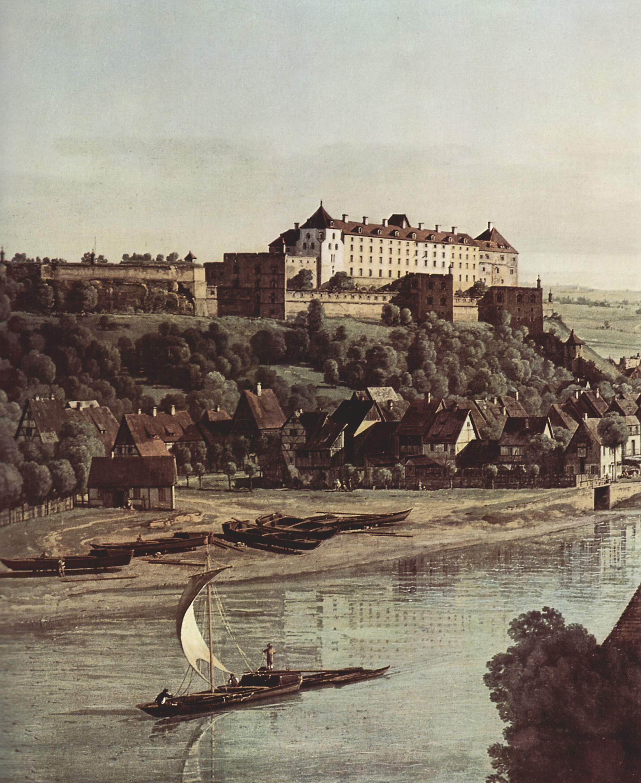 Вид Пирны, Пирна со стороны виноградников близ Просто, с крепостью Зонненшайн. Деталь, Джованни Антонио Каналетто 1