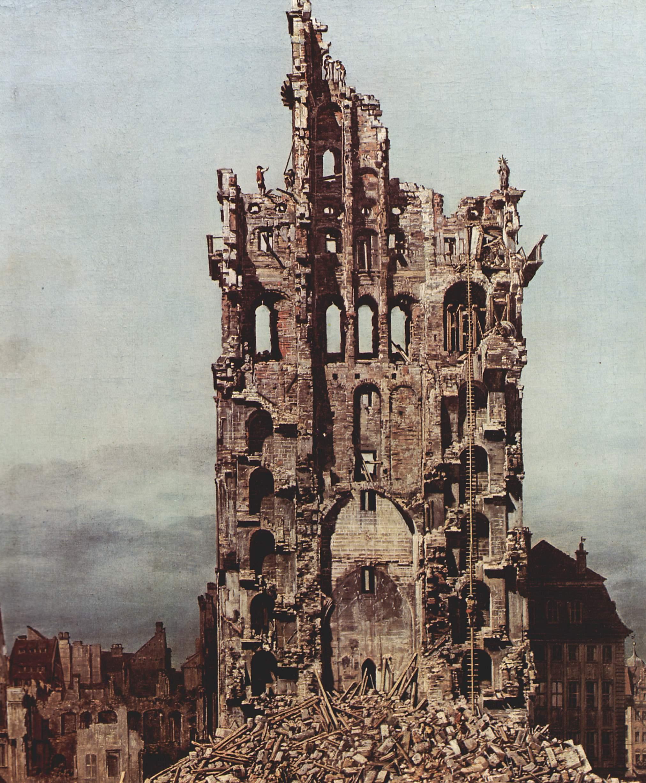 Вид Дрездена, руины церкви Воздвижения, вид с востока. Деталь, Джованни Антонио Каналетто 1